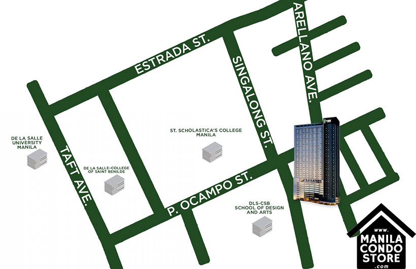 3 TORRE LORENZO De La Salle University Taft Manila City Condo Location Map