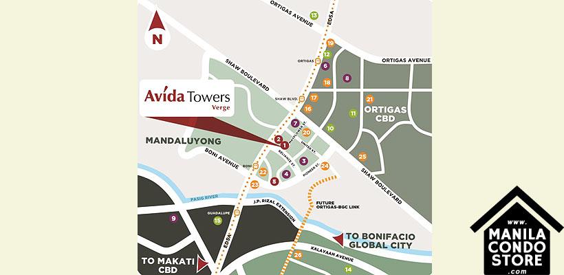 Avida Towers Verge Mandaluyong Condo Location Map