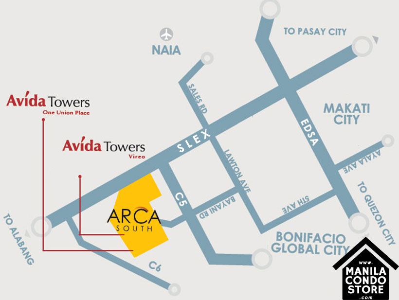 AVIDA Towers Vireo Arca South Condo Location Map