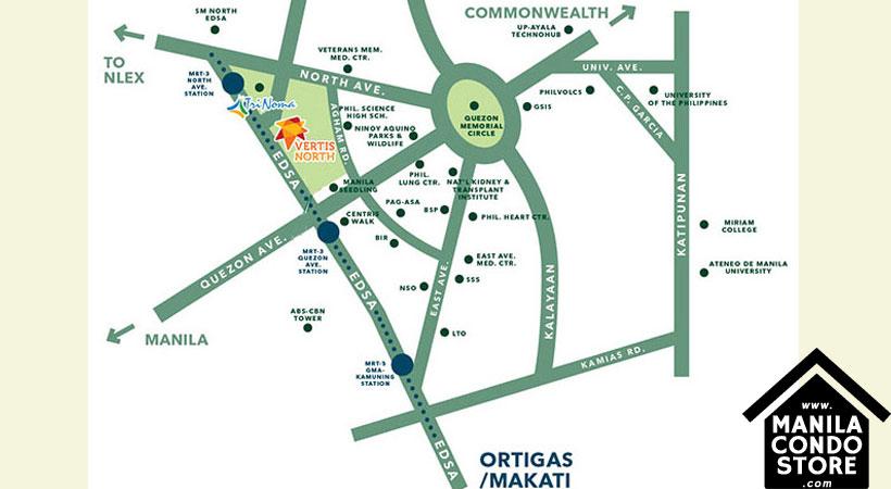 Alveo High Park Vertis North Quezon City Condo Location Map
