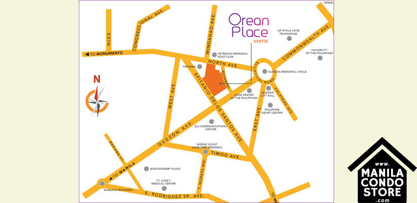 Alveo Orean Place Vertis North Quezon City Condo Location Map