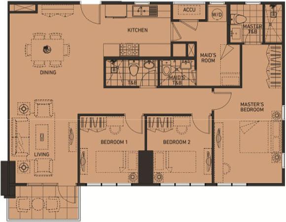 Alveo Portico Pasig Condo 3-bedroom unit