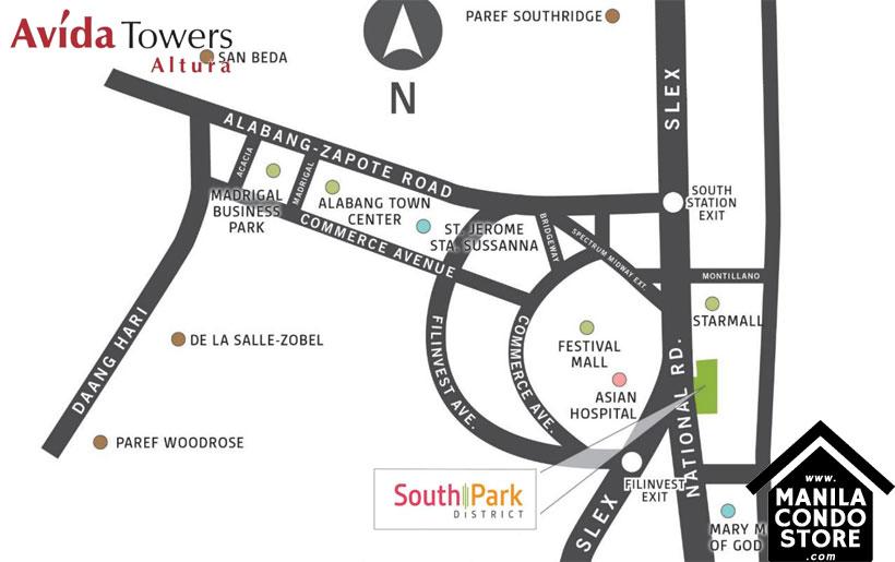 Avida Towers Altura Alabang Muntinlupa Condo Location Map