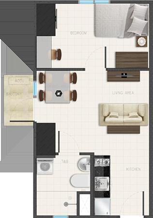 Avida Towers Ardane Alabang Muntinlupa Condo 1-bedroom unit with balcony