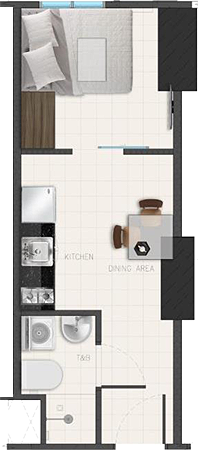 Avida Towers Ardane Alabang Muntinlupa Condo Junior 1-bedroom unit