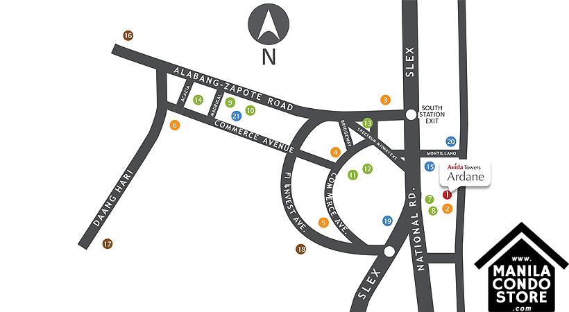 Avida Towers Ardane Alabang Muntinlupa Condo Location Map
