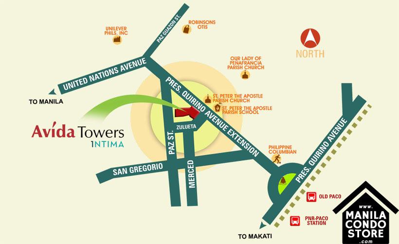 Avida Towers Intima Paco Manila Condo Location Map