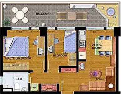 Avida Towers New Manila Condo 2-bedroom unit with balcony