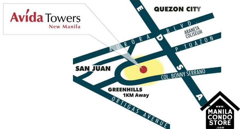 Avida Towers New Manila Condo Location Map