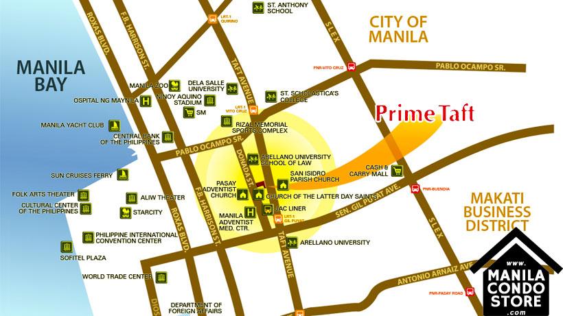 Avida Towers Prime Taft La Salle Manila Condo Location Map