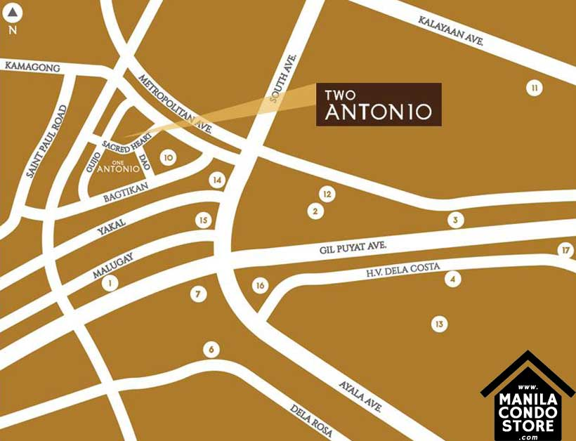 Avida Towers Two Antonio Makati Condo Location Map