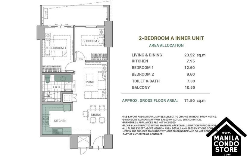 DMCI Homes Alder Residences Acacia Estates Taguig Condo 2-bedroom unit A