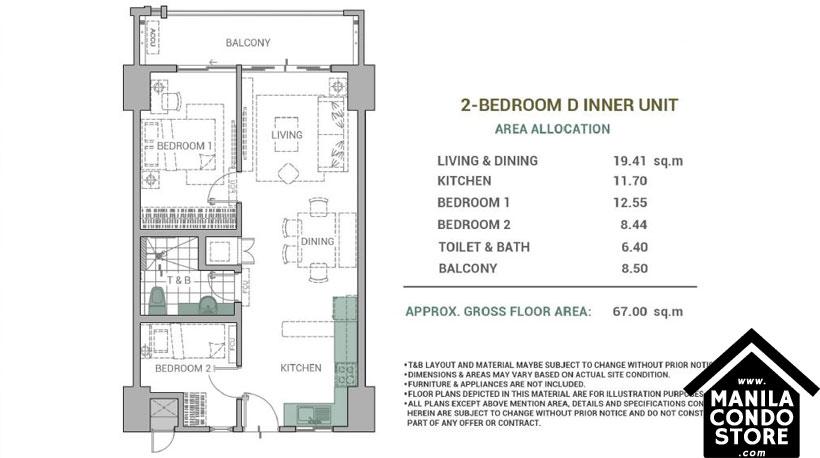 DMCI Homes Alder Residences Acacia Estates Taguig Condo 2-bedroom unit D