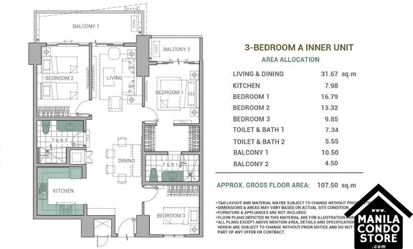 DMCI Homes Alder Residences Acacia Estates Taguig Condo 3-bedroom unit A