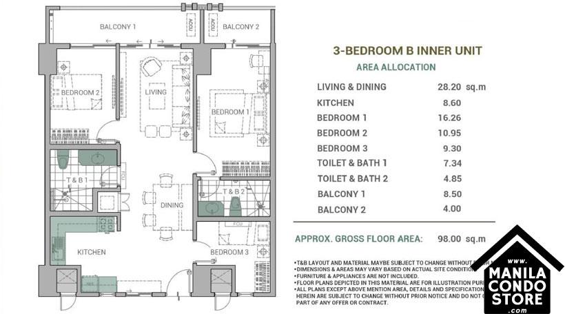DMCI Homes Alder Residences Acacia Estates Taguig Condo 3-bedroom unit B