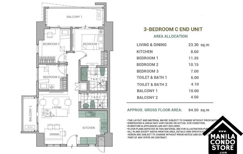 DMCI Homes Alder Residences Acacia Estates Taguig Condo 3-bedroom unit C