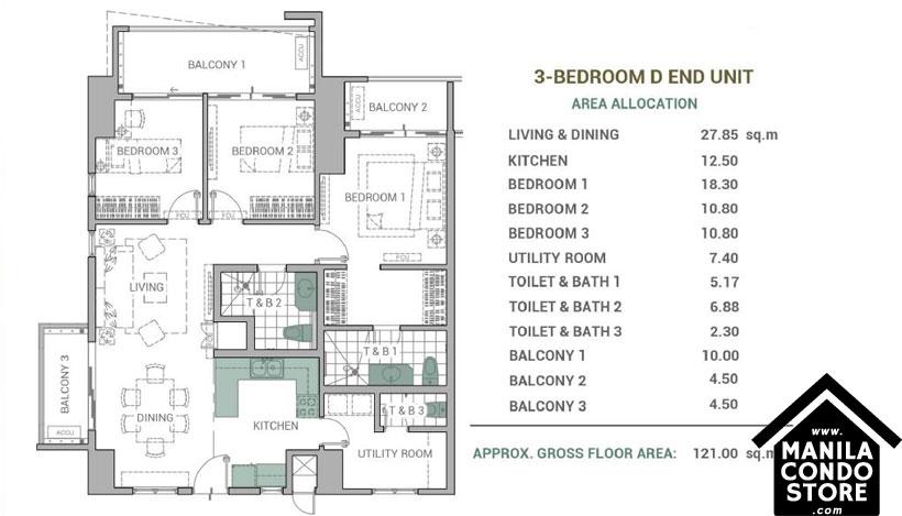DMCI Homes Alder Residences Acacia Estates Taguig Condo 3-bedroom unit deluxe