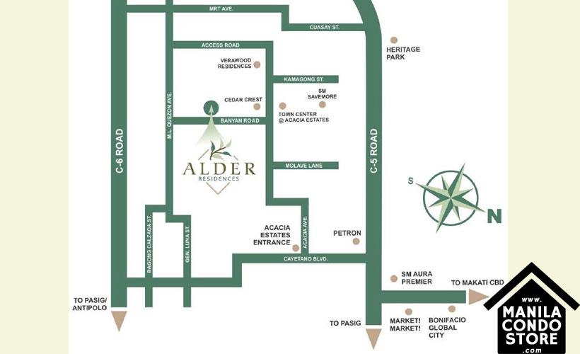 DMCI Homes Alder Residences Acacia Estates Taguig Condo Location Map