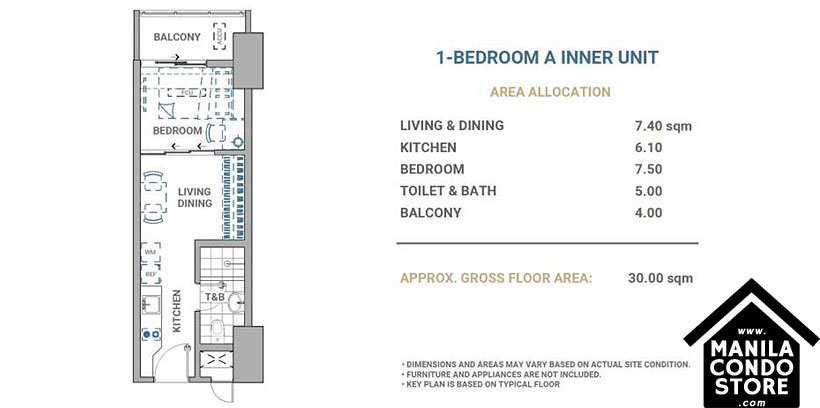 DMCI Homes Allegra Garden Place Pasig Boulevard Condo 1-bedroom unit A