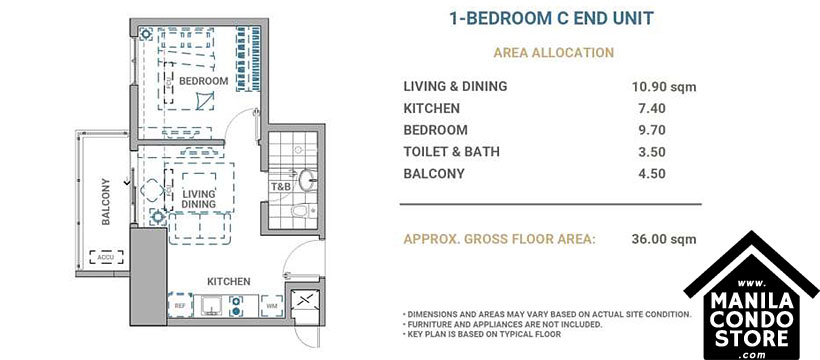 DMCI Homes Allegra Garden Place Pasig Boulevard Condo 1-bedroom unit C