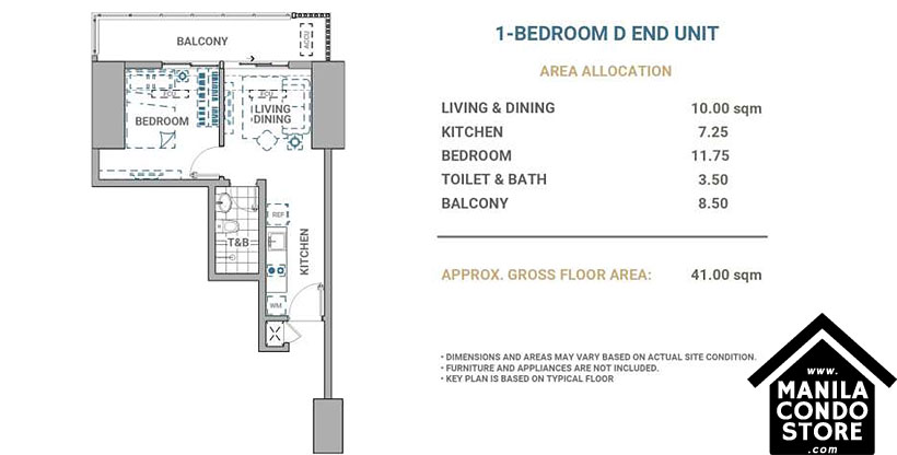 DMCI Homes Allegra Garden Place Pasig Boulevard Condo 1-bedroom unit D