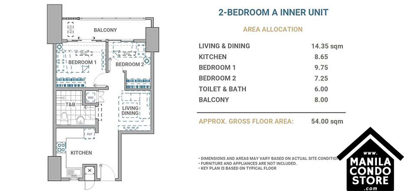 DMCI Homes Allegra Garden Place Pasig Boulevard Condo 2-bedroom unit A