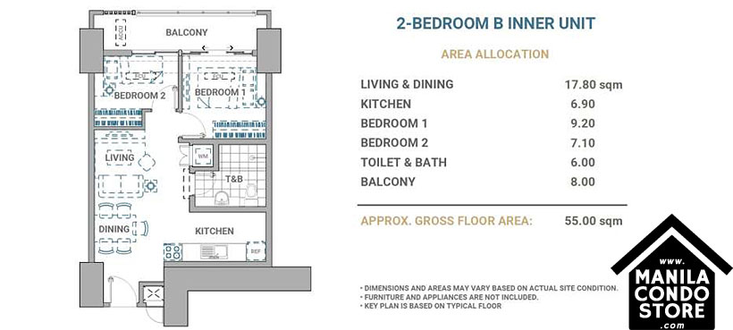 DMCI Homes Allegra Garden Place Pasig Boulevard Condo 2-bedroom unit B