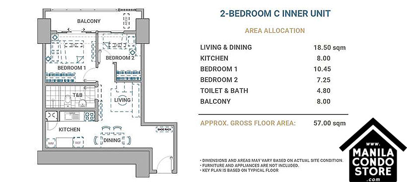 DMCI Homes Allegra Garden Place Pasig Boulevard Condo 2-bedroom unit C