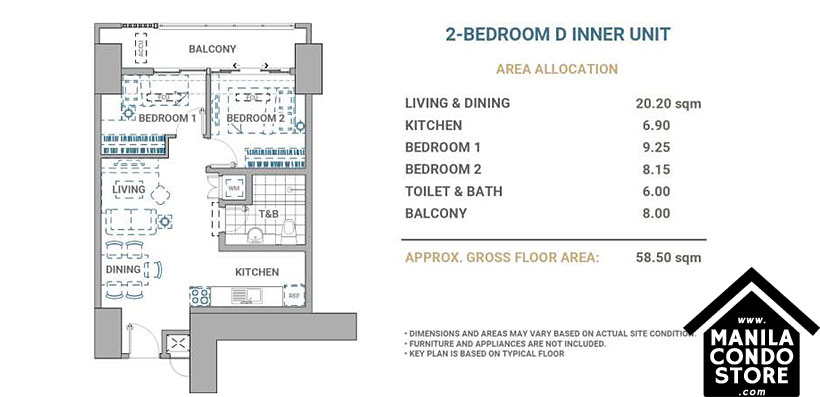 DMCI Homes Allegra Garden Place Pasig Boulevard Condo 2-bedroom unit D