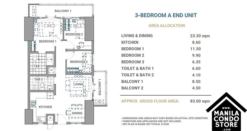 DMCI Homes Allegra Garden Place Pasig Boulevard Condo 3-bedroom unit A