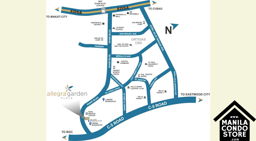 DMCI Homes Allegra Garden Place Pasig Boulevard Condo Location Map