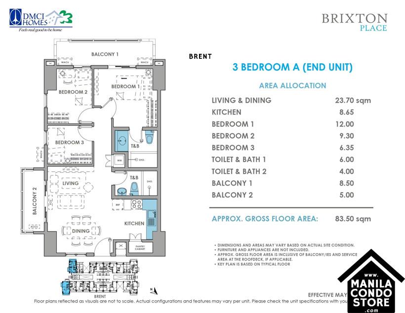 DMCI Homes BRIXTON Place Kapitolyo Pasig Condo 3-bedroom unit