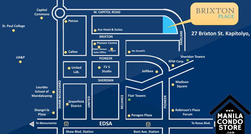 DMCI Homes BRIXTON Place Kapitolyo Pasig Condo Location Map