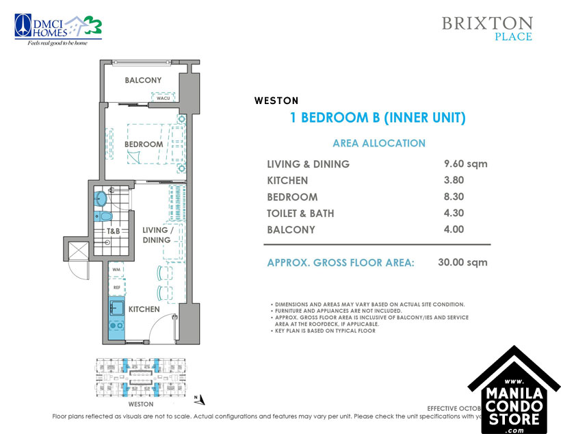 DMCI Homes BRIXTON Place Kapitolyo Pasig Condo 1-bedroom unit
