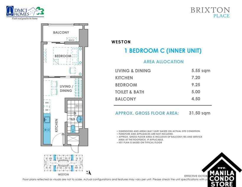 DMCI Homes BRIXTON Place Kapitolyo Pasig Condo 1-bedroom unit