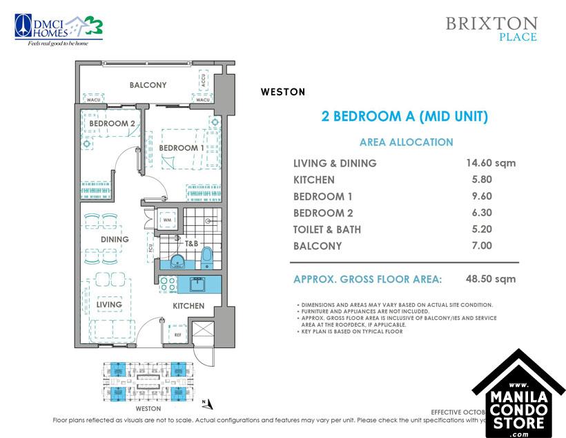 DMCI Homes BRIXTON Place Kapitolyo Pasig Condo 2-bedroom unit