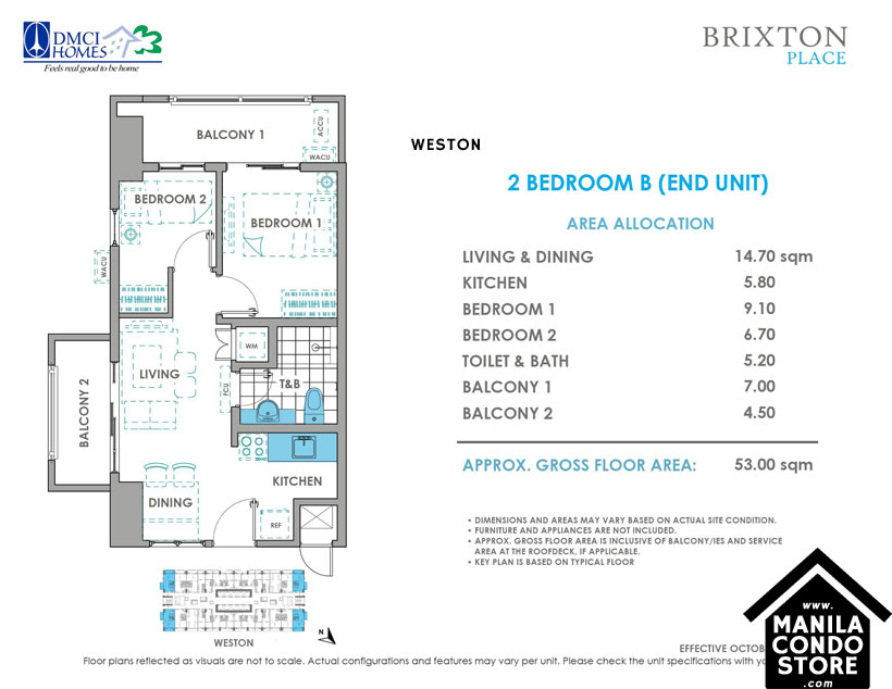 DMCI Homes BRIXTON Place Kapitolyo Pasig Condo 2-bedroom unit