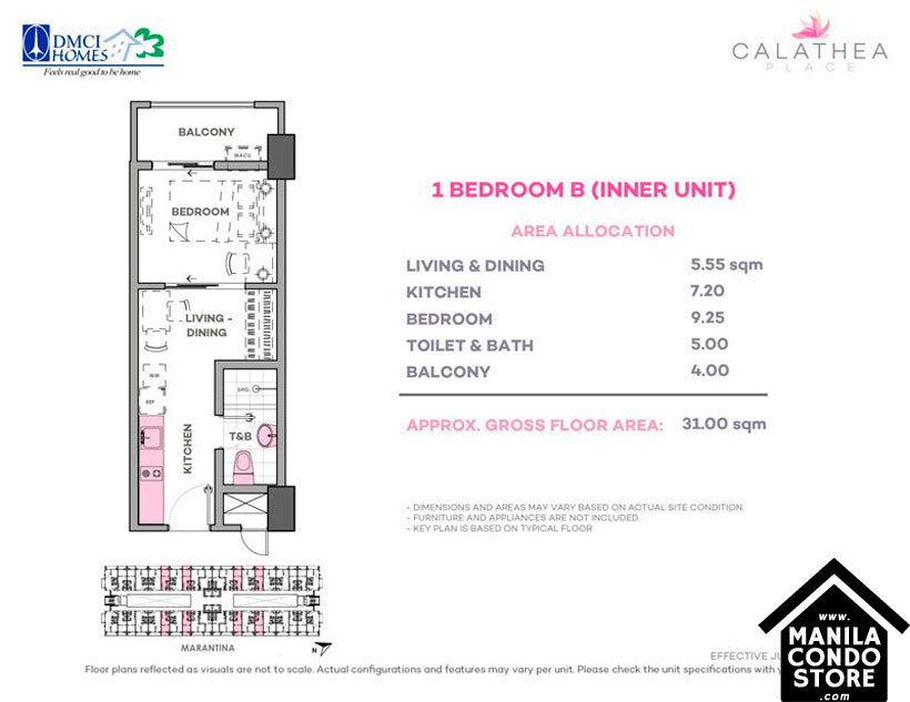 DMCI Homes CALATHEA Place Paranaque Condo 1-bedroom unit