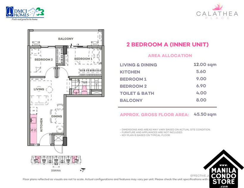 DMCI Homes CALATHEA Place Paranaque Condo 2-bedroom unit