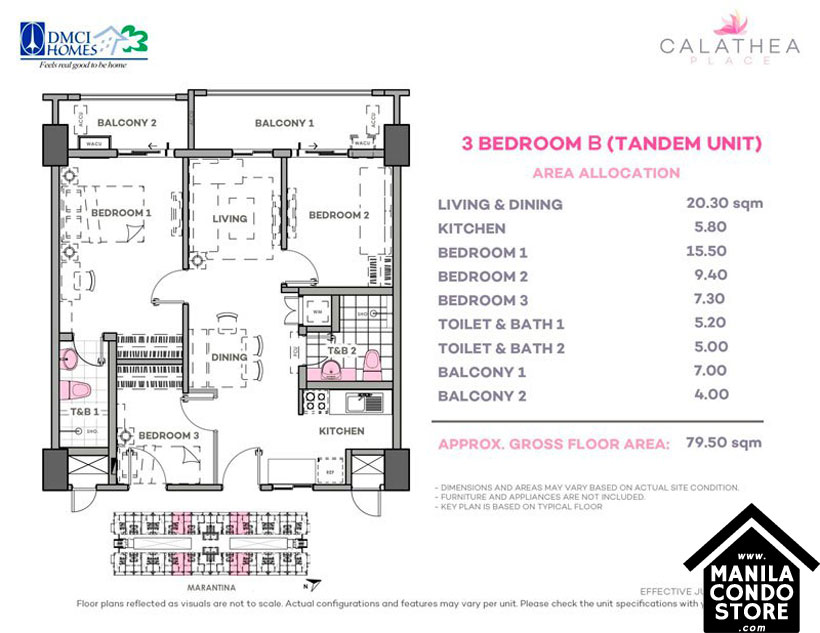 DMCI Homes CALATHEA Place Paranaque Condo Tandem unit