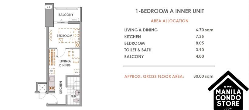 DMCI Homes CAMERON RESIDENCES Roosevelt Avenue Quezon City Condo 1-bedroom unit A