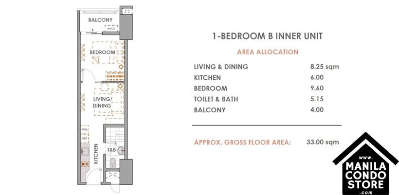 DMCI Homes CAMERON RESIDENCES Roosevelt Avenue Quezon City Condo 1-bedroom unit B