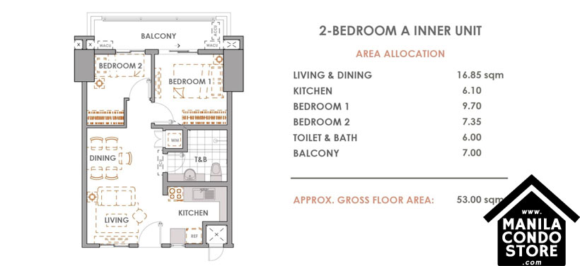 DMCI Homes CAMERON RESIDENCES Roosevelt Avenue Quezon City Condo 2-bedroom unit A