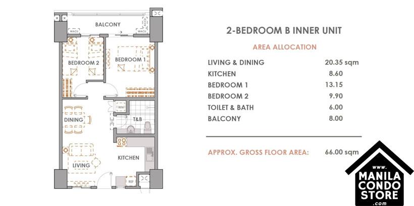 DMCI Homes CAMERON RESIDENCES Roosevelt Avenue Quezon City Condo 2-bedroom unit B