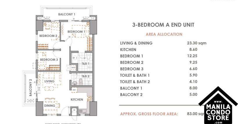 DMCI Homes CAMERON RESIDENCES Roosevelt Avenue Quezon City Condo 3-bedroom unit A