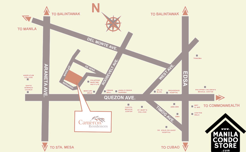 DMCI Homes CAMERON RESIDENCES Roosevelt Avenue Quezon City Condo Location Map