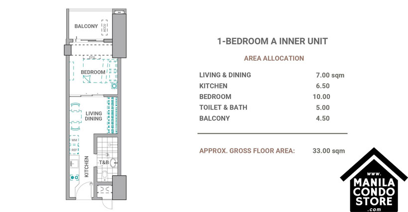 DMCI Homes The Crestmont Panay South Triangle Quezon City Condo 1-bedroom unit A