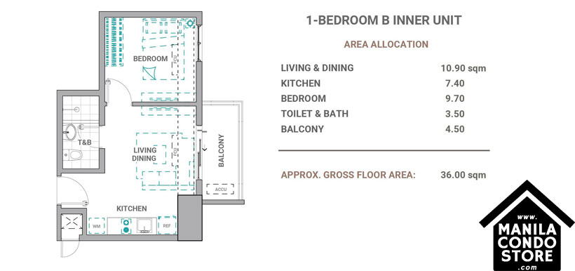DMCI Homes The Crestmont Panay South Triangle Quezon City Condo 1-bedroom unit B