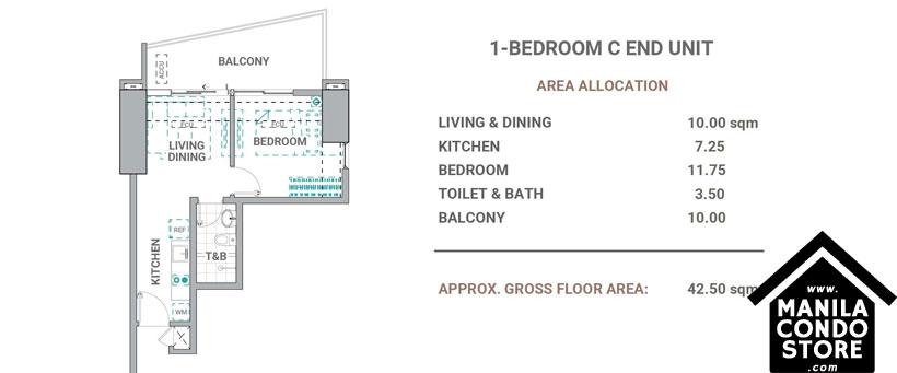 DMCI Homes The Crestmont Panay South Triangle Quezon City Condo 1-bedroom unit C