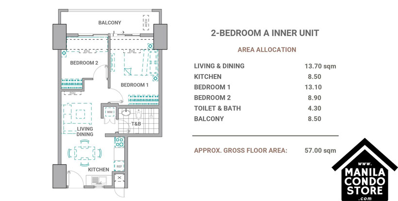 DMCI Homes The Crestmont Panay South Triangle Quezon City Condo 2-bedroom unit A